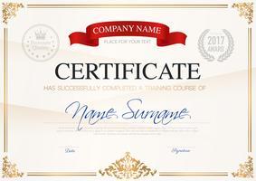 Certificato di modello di completamento vettore