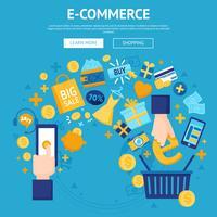 Progettazione di pagine Web del negozio online di e-commerce vettore