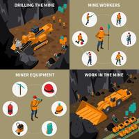 Set di icone isometriche persone minatore 2x2