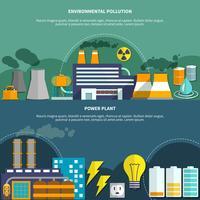 Inquinamento Environmemtal e bandiera di centrale elettrica vettore