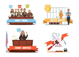 Legge giustizia 4 icone dei cartoni animati retrò vettore