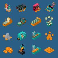 Icone isometriche di produzione di denaro vettore