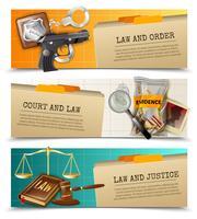 Set di bandiere di legge giustizia piatte orizzontali vettore