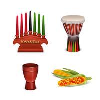 kwanzaa holiday 4 collezione simboli colorati