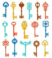 Set di chiavi colorate vettore