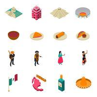 Collezione di icone isometriche di attrazioni turistiche del Messico