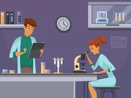 Giovani scienziati nel manifesto della composizione in laboratorio