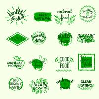 Set di etichette di cibo sano