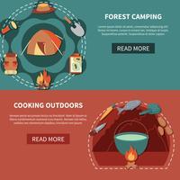 Attrezzatura per escursioni e prodotti alimentari per cucinare all'aperto vettore