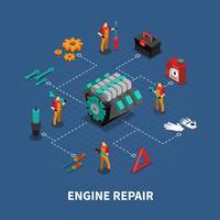 Composizione isometrica del centro auto riparazione auto vettore
