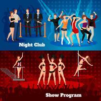 night club dance show 2 banner piatti vettore