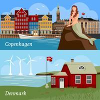 Composizioni in stile piatto della Danimarca vettore