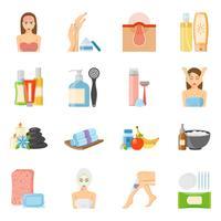 Icone piane di cura della pelle e cura della pelle vettore