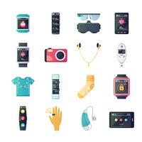 Collezione di icone piane di gadget tecnologia indossabile