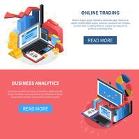 Set di banner icone isometriche finanziarie