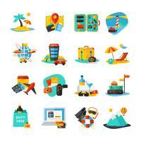 Set di icone di viaggio vettore