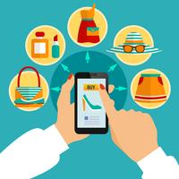 Composizione app mobile online del negozio di abbigliamento online vettore