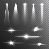 Composizione di fasci di luce su bianco vettore