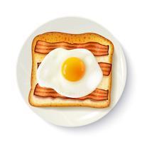 Prima colazione Sandwich Vista dall'alto Immagine realistica vettore