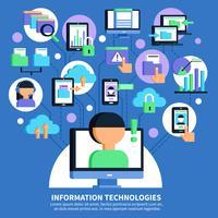 Illustrazione piana di tecnologie dell'informazione vettore