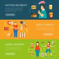 banner concetto di obesità vettore