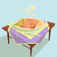 Illustrazione del fumetto del piatto di pesce