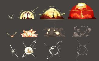 Collezione di icone retrò dei cartoni animati di esplosione di bomba
