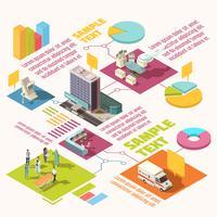 Infographics isometrico dell'ospedale vettore
