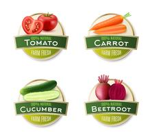 Raccolta di etichette rotonda di verdure fresche di fattoria