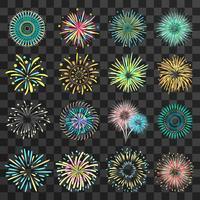 Fuochi d'artificio festivi su sfondo scuro trasparente vettore