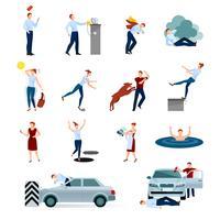 Insieme di icone decorative di incidenti lesioni lesioni pericolose vettore
