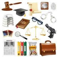 Raccolta di oggetti e simboli di Giustizia di legge vettore