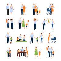 Set di icone di famiglia
