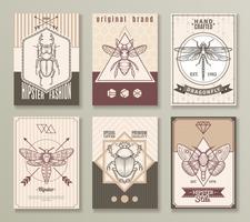 Set di carte hipster insetto vettore