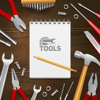 Fondo piano della composizione degli strumenti della costruzione del carpentiere