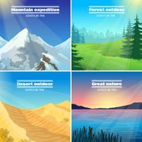campeggi paesaggi 4 icone piane quadrate vettore