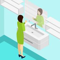 Illustrazione isometrica test di gravidanza vettore
