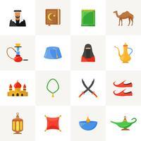Set di icone di cultura araba vettore