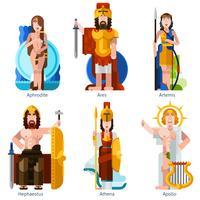 Set di icone di divinità olimpiche di colore piatto vettore