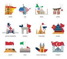 Set di icone piane di punti di riferimento di bandiere di paesi