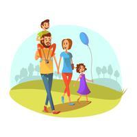 Illustrazione di fine settimana di famiglia