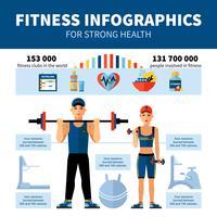 Infographics di forma fisica con le statistiche dei club sportivi vettore