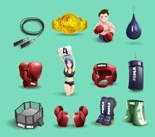 MMA combatte set di icone 3d