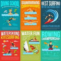 Collezione di poster di sport acquatici vettore