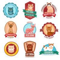 Set di emblemi di gatti vettore