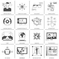Icone in bianco e nero di realtà virtuale