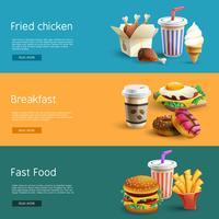 Opzioni Fastfood Pittogrammi 3 banner orizzontali