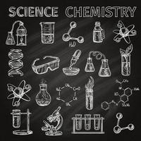 Set di icone di scienza e chimica