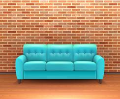 Interiore del muro di mattoni con sofà realistico