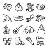 Set di icone di campeggio nero bianco vettore